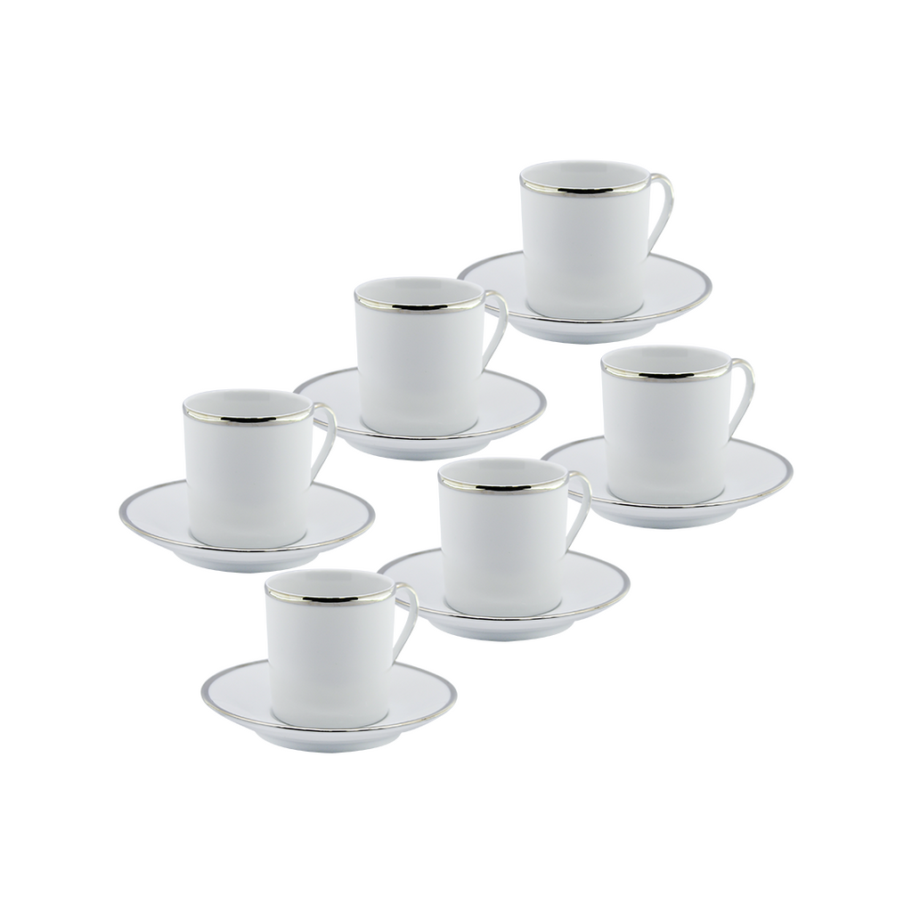 DEPOS WHITE + SILVER RIM SET 6 COFFEE CUP + PLATE