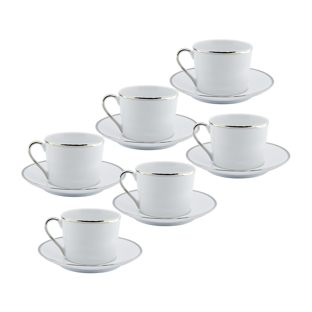 DEPOS WHITE + SILVER SET 6 TEA CUP + PLATE