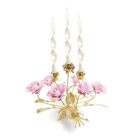 SATIN GOLD BIG CANDLEHOLDER FOR 4 CANDLES WITH ROSES PINK 50 - 8505-50