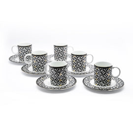 KOSOVA PORCELAIN COFFEE CUP & SAUCER 6PCS SET
