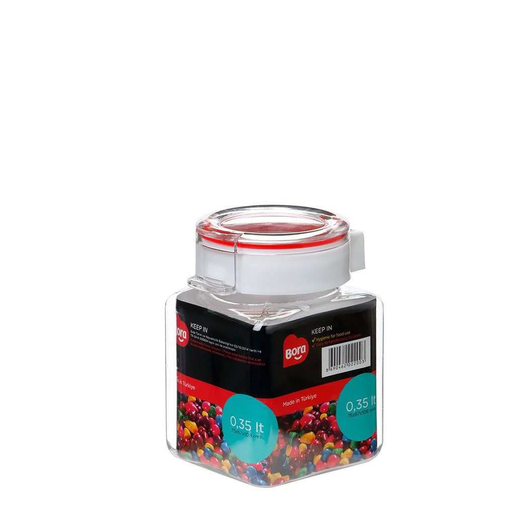 PET SQUARE STORAGE 0.35 Lt. JAR 63MM  BO2200