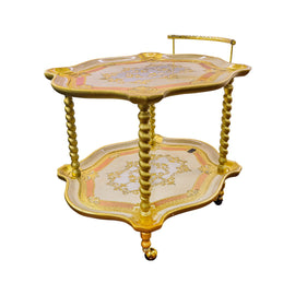 SHAPED TEA CART CM 70X83X70H GIOBERTI ORO/AVORIO
