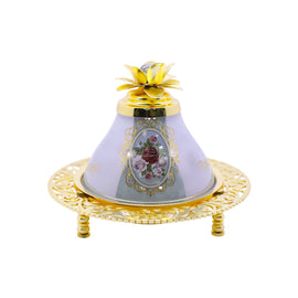 CEMET DECORATED TRAY WITH COVER GOLD CMT-0516-MOR