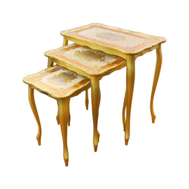 THREE TABLE SET 35X57X58H GIOBERTI ORO/AVORIO