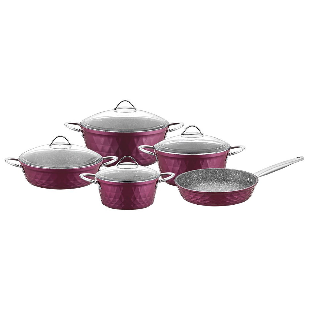 FALEZ 9PC COOKWARE SET DIAMOND BSHAPE VIOLET