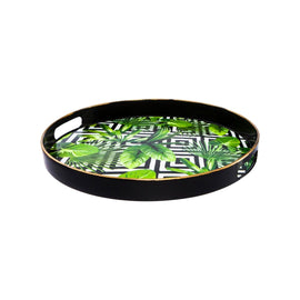 AUTHENTIC ROUND BLACK TRAY GOLD