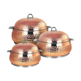 NEW KING BELLY HOTPOT W/MILANO COPPER 3PCS SET 3000-4000-6000 ML