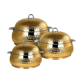 NEW KING BELLY HOTPOT W/MILANO GOLD 3PCS SET 3000-4000-6000ML