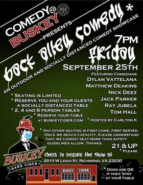 Table Reservation for Comedy @ Buskey Presents BACK ALLEY COMEDY - Friday, 09/25 at 7pm
