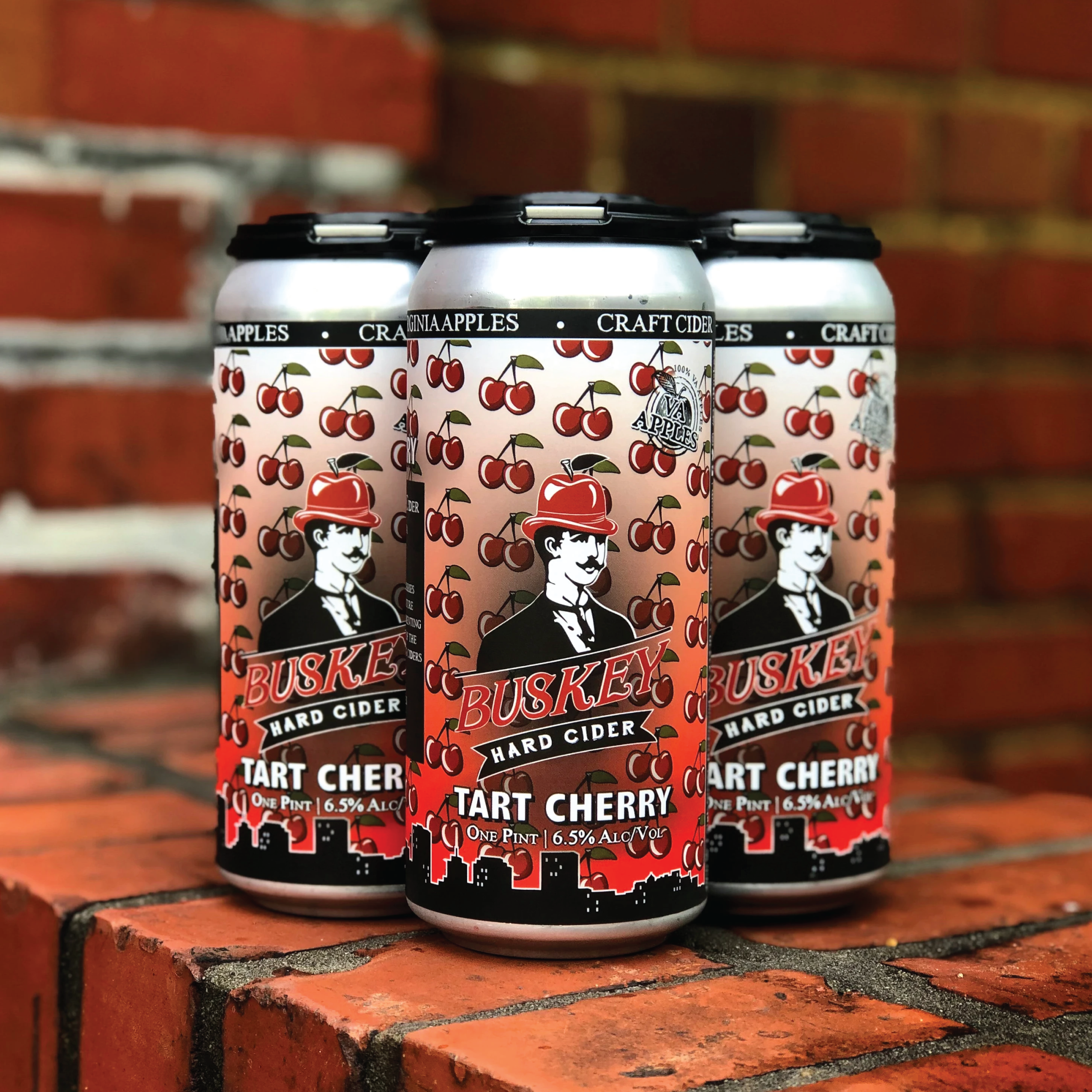 16oz 4-pack of Buskey Tart Cherry Cider cans