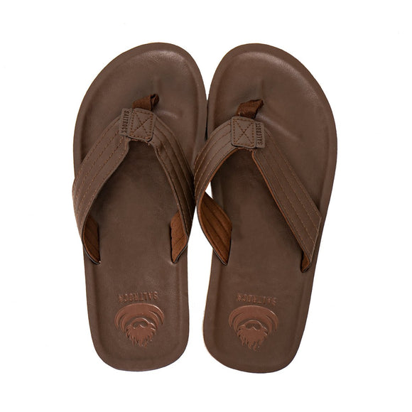 Utah - Men's Leather Flip Flop - Brown