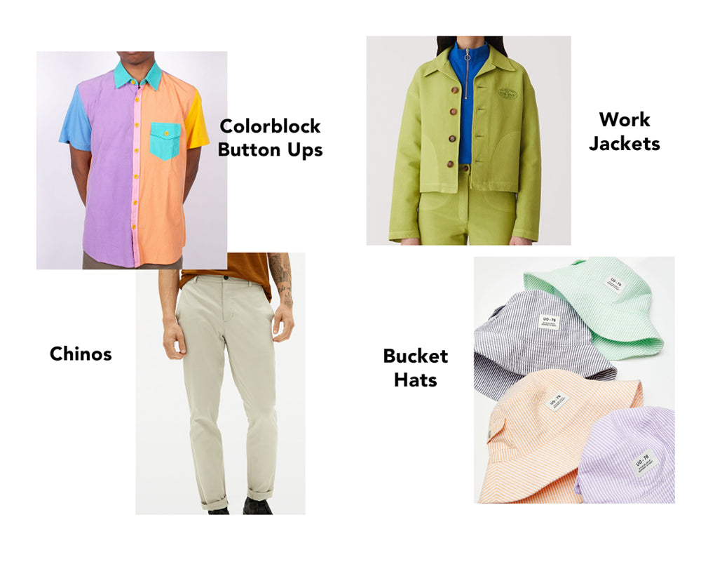 Color block button ups, chinos, work jackets, bucket hats