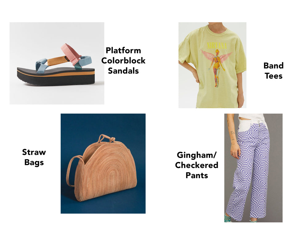 Platform color block sandals, straw bags, band tees, gingam/checkered pants