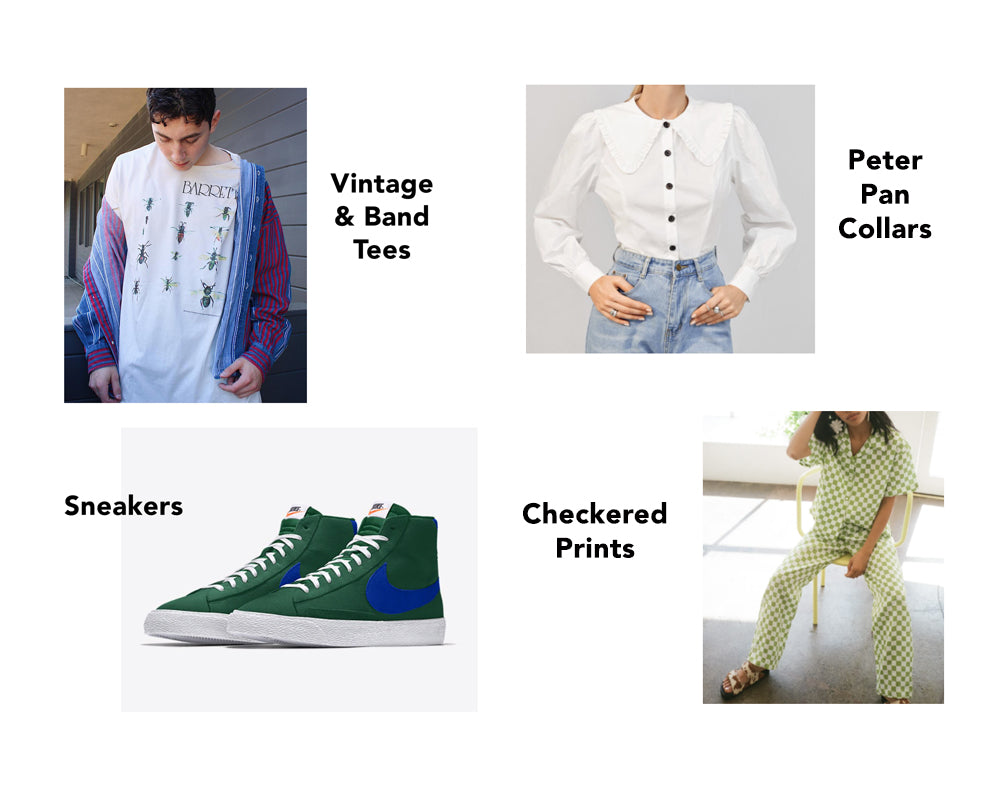 Vintage and band tees, sneakers, peter pan collars, checkered prints