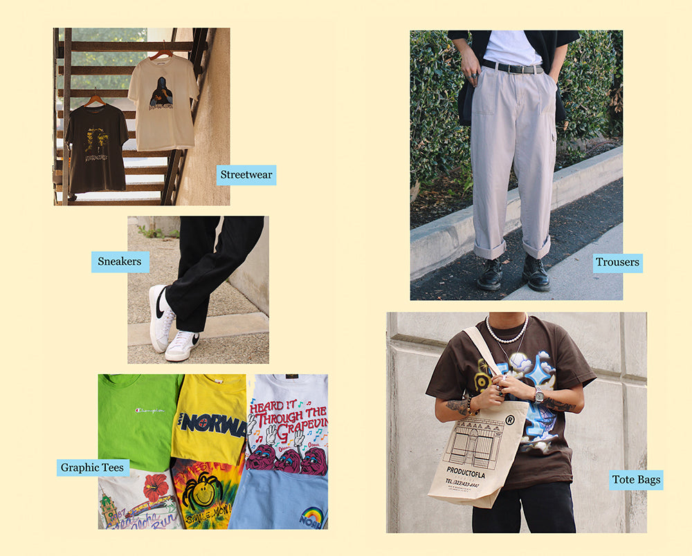 Streetwear, sneakers, graphic tees, trousers and tote bags