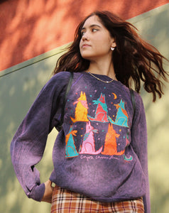 Colorful Coyote and Stars Crew Neck Sweatshirt