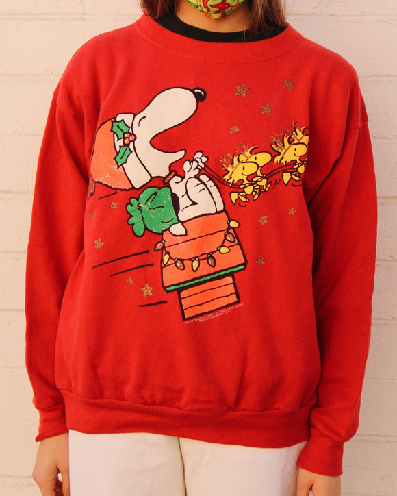 Vintage Snoopy Reindeer Christmas Sweater