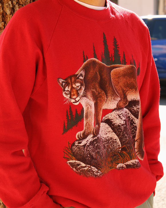 Vintage Mountain Lion Crew Neck Sweatshirt