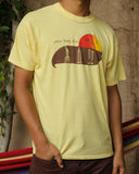 Side view of the t-shirt is shown.