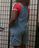 The back of the overalls include two pockets.
