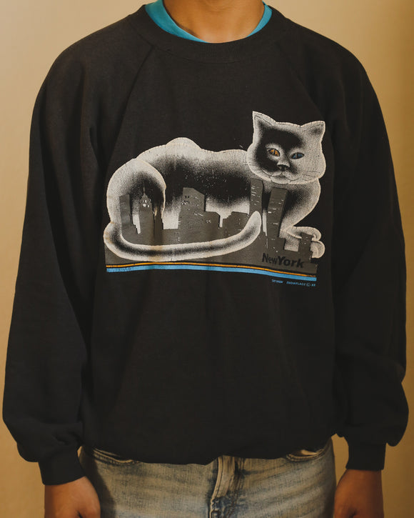 Vintage 80s New York Cat Crew Neck Sweatshirt