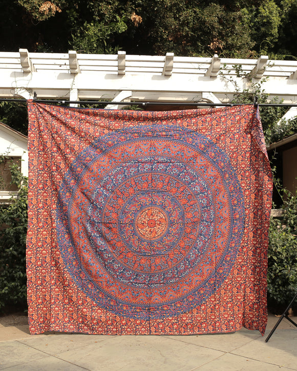 Orange Hues Camel/Bird Print Large Tapestry