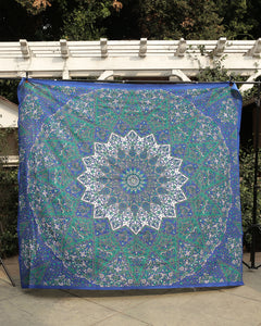 Blue Hues Elephant Kaleidoscope Large Tapestry