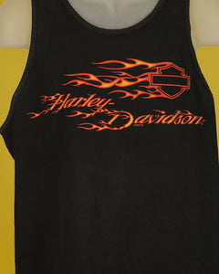 Close up of black tank top. The Harley Davidson shield logo is empty and has flames behind it. Written underneath it is Harley Davidson in flame letters.
