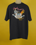 Dark Navy blue bowling themed t-shirt. The graphic design says Good Timers in pink cursive letters at the top over a zebra, Elephant, and Giraffe. They are all wearing sunglasses and party hats. Underneath them it says Oakwood Bowl in yellow cursive letters.