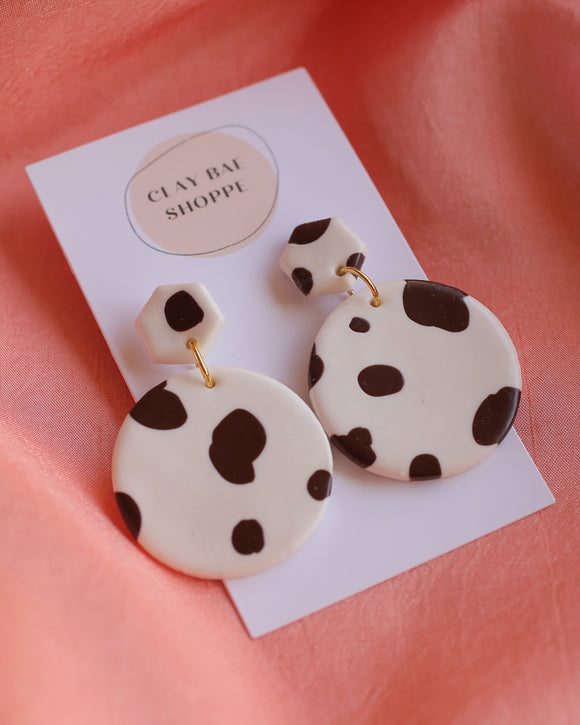 Clay Bae Shoppe Handcrafted Earrings - Cow Print Round
