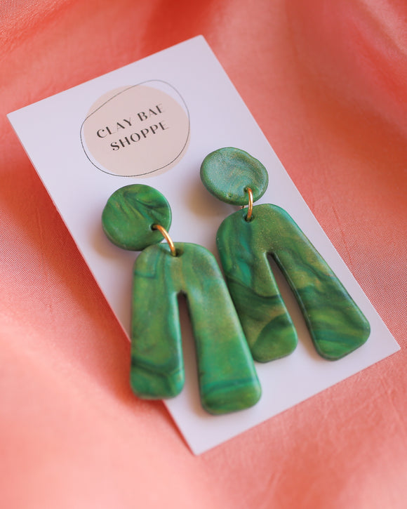 Clay Bae Shoppe Handcrafted Earrings - Green Marble