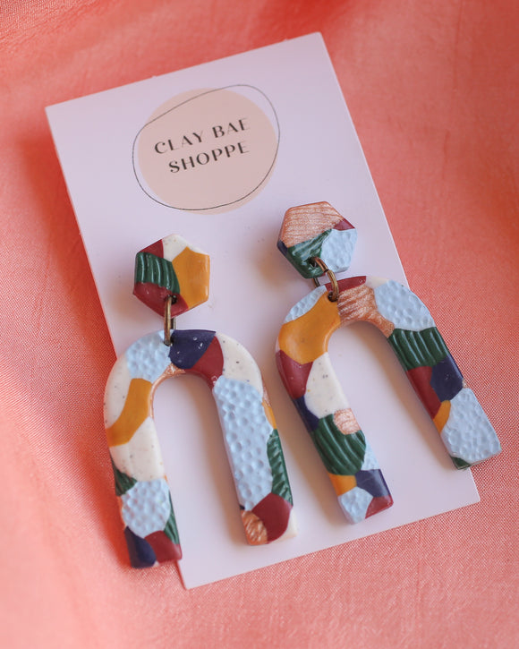 Clay Bae Shoppe Handcrafted Earrings - Colorful Patchwork