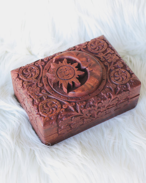 Wooden Tarot Box w/ Sun & Moon