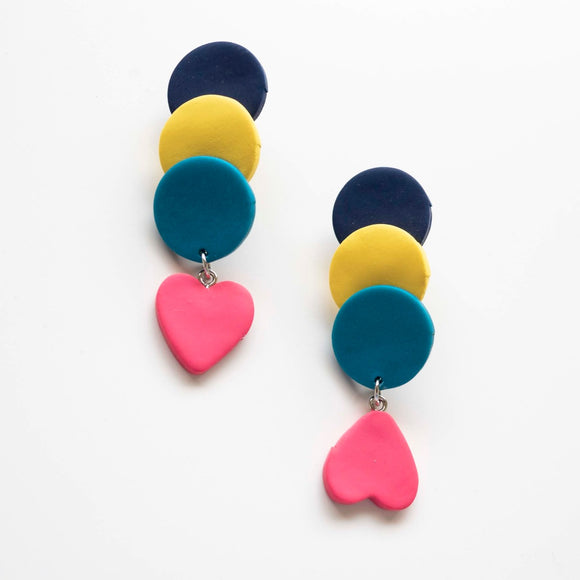 Colorblockrock Earrings (handcrafted clay earrings by Up to Your Ears)