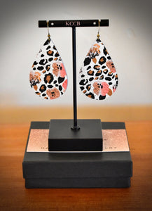 Leopard & Floral print tear drops earring (fall collection)