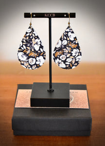 Navy & Mustard Floral Earring (fall collection)