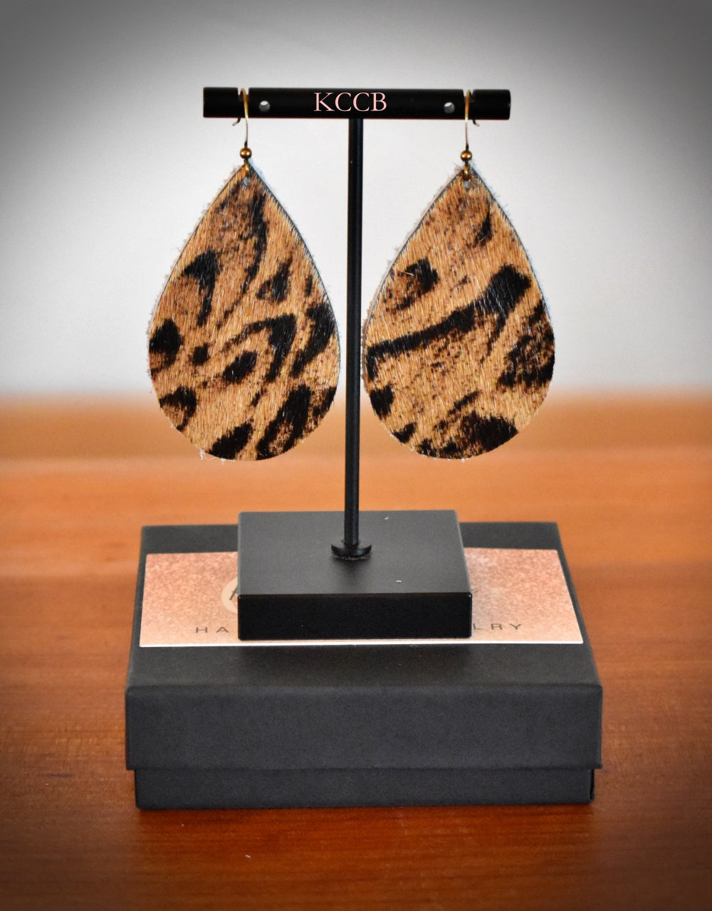*New* Large Caramel Leopard Hair on Hide Earring