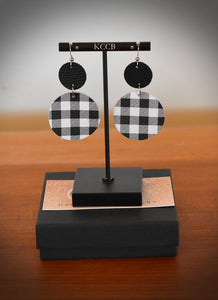 B/W Buffalo Plaid Drop Earring