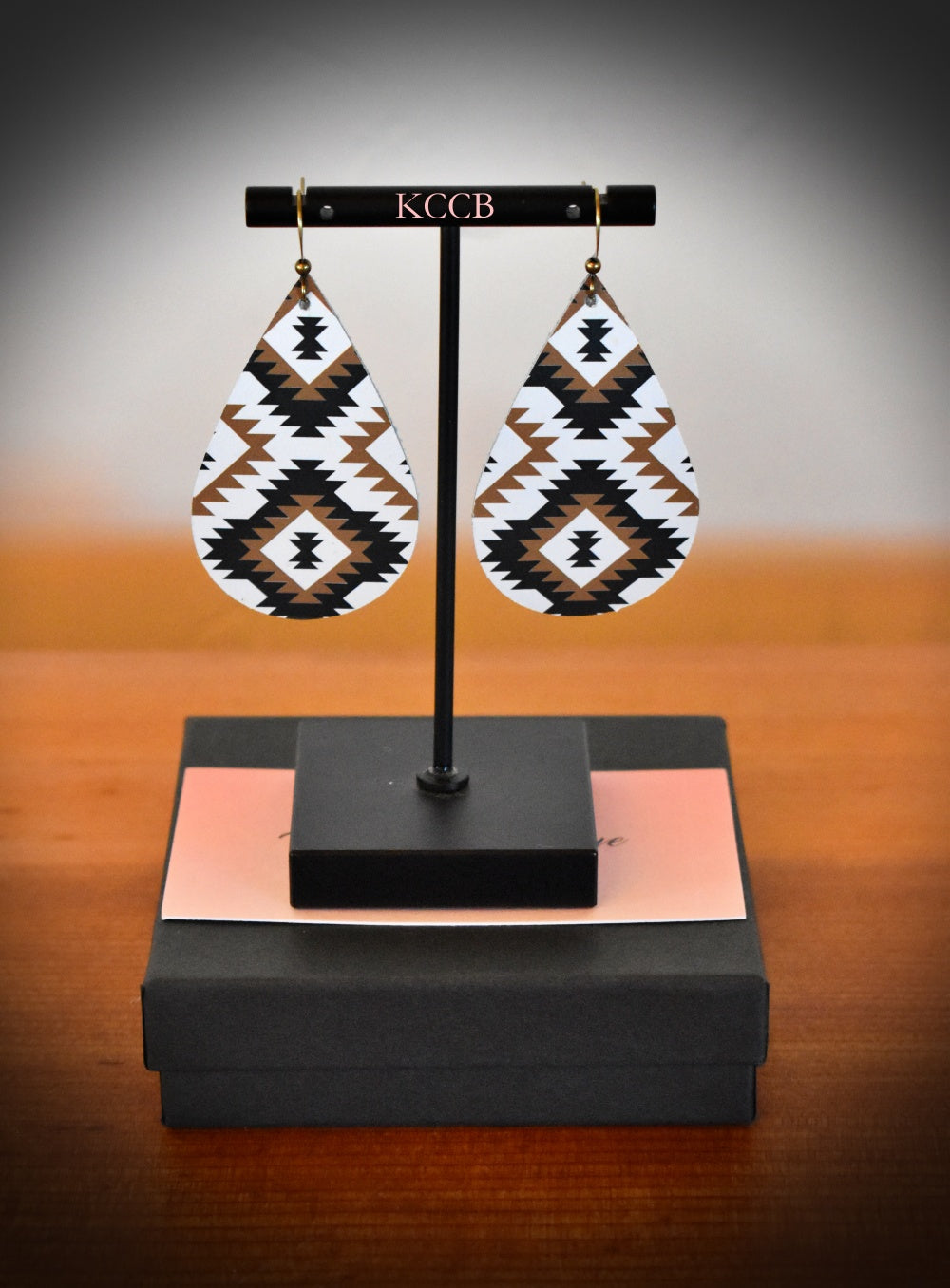 *New* Black, Brown & White Aztec Teardrop Earring