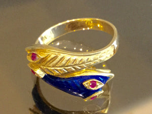 Double Snake Ring in 18k Gold & Enamel