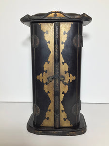 Japanese Black Lacquer Butsudan Buddha Altar with Gold Gilt Interior