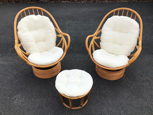Pair of Vintage Swivel Papasan Bamboo Chairs with Matching Ottoman