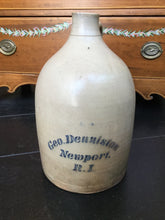 Load image into Gallery viewer, Antique 19th Century Salt Glazed Jug for George Denniston Newport, RI Retailer