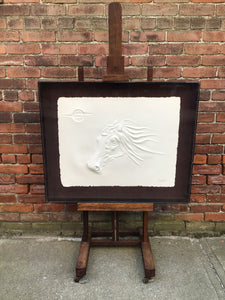 Cast Paper Sculpture of Woman & Horse by Carlo Wahlbeck
