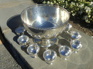Antique Dominic & Haff Sterling Silver Punch Bowl Set