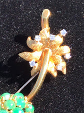 Load image into Gallery viewer, 18kt. Gold Figural Scottish Thistle & Jade Pin Brooch by Cellino of Italy