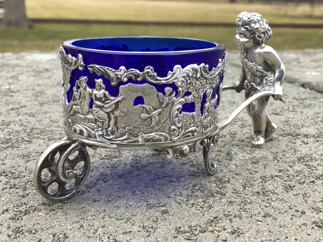 Antique German 800 Silver Figural Cart Salt Cellar with Cobalt Glass Liner