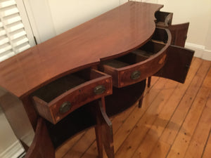 Antique Inlaid Mahogany Buffet Server with USS Constitution Pulls ~Salem, Mass~