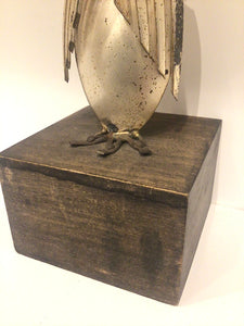 Owl Sculpture on Wood Plinth ~Signed~