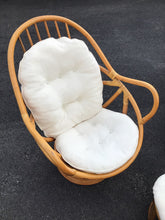 Load image into Gallery viewer, Pair of Vintage Swivel Papasan Bamboo Chairs with Matching Ottoman